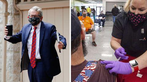 Ohios Gouverneur Mike DeWine (l.):