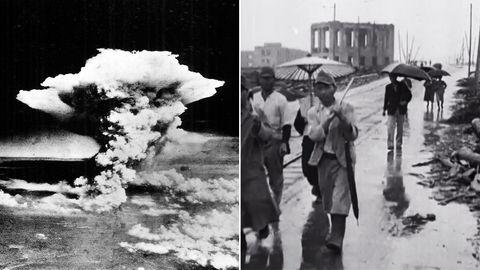 Zwei Fotos in schwarzweiß. Das linke zeigt einen Atompilz, das rechte Menschen vor Ruinen
