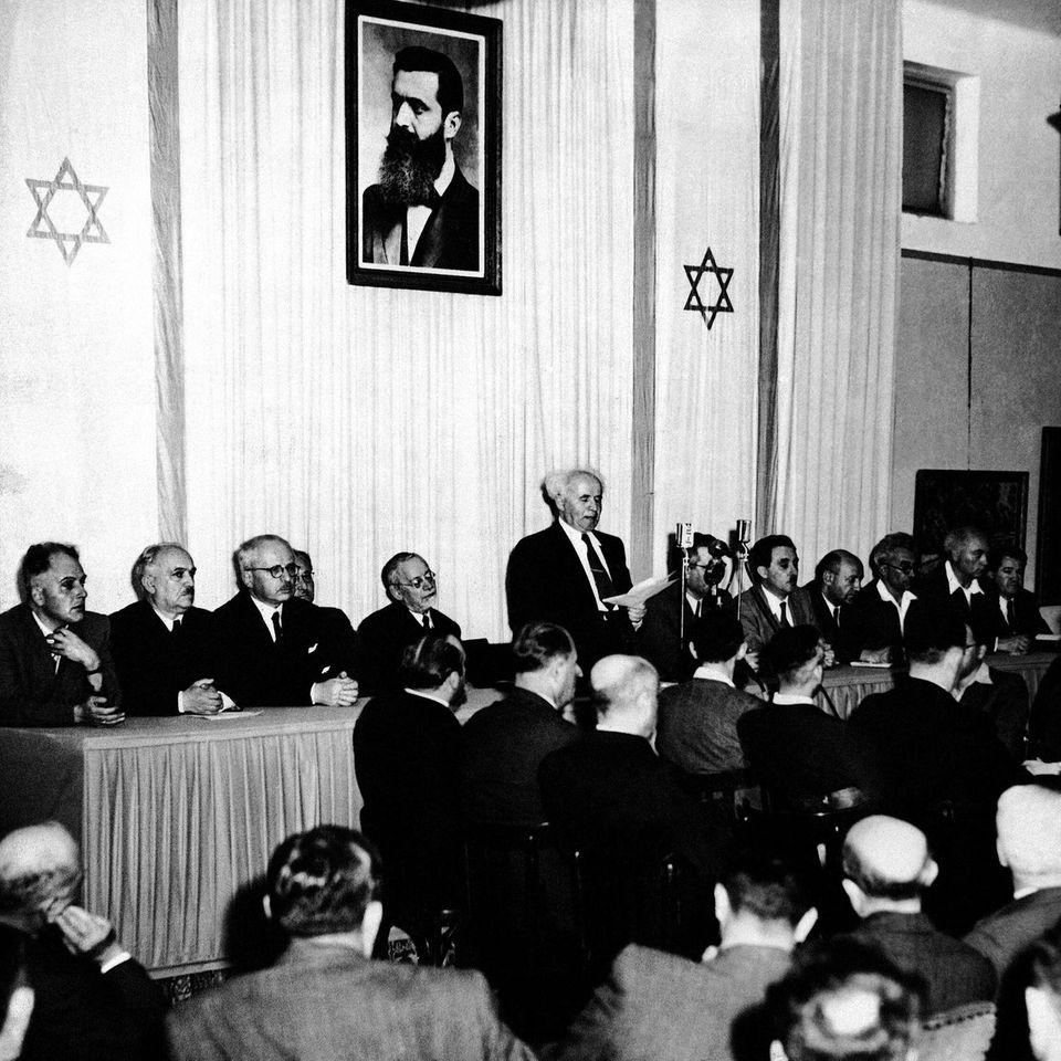 David Ben-Gurion verkündet die Errichtung des Staates Israel