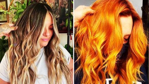 Zwei Frauen präsentieren ihre Frisuren