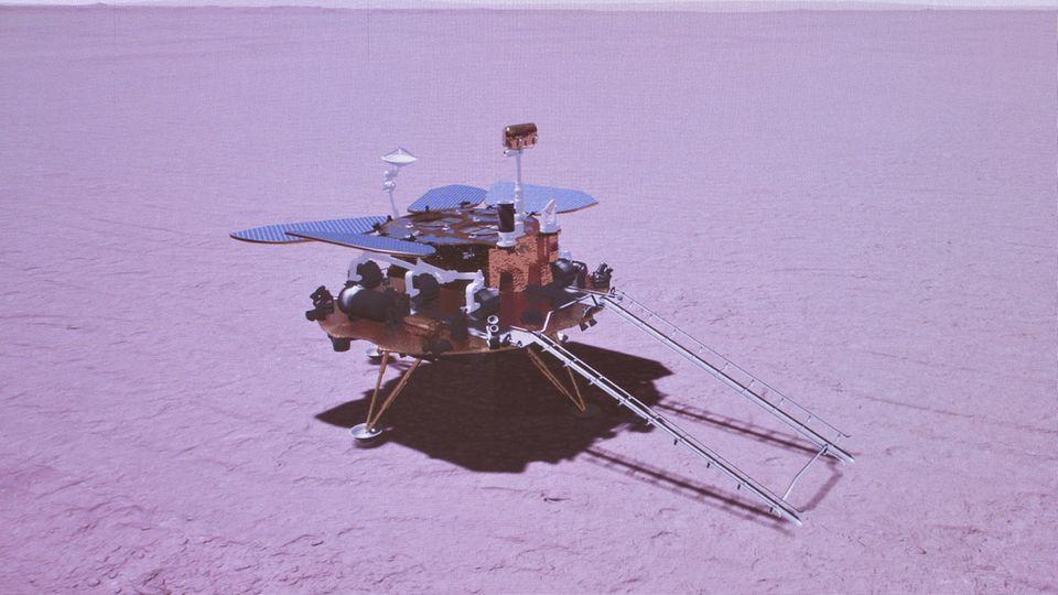 China, Peking: Das grafisch simulierte Bild zeigt die Landung der chinesischen Sonde auf dem Mars