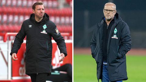 Werder Bremen trennt sich vonTrainer Florian Kohfeldt (l.), der frühere Coach Thomas Schaaf (r.) übernimmt