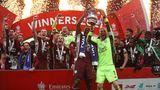 Die Spieler von Leicester City feiern ihren Sieg beim FA Cup in London, England