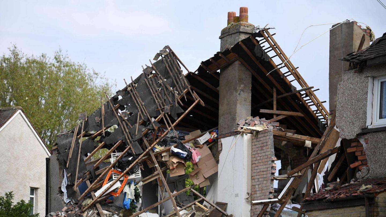 Die Überreste eines Hauses sind nach einer Gasexplosion in der Stadt Heysham im Nordwesten Englands zu sehen