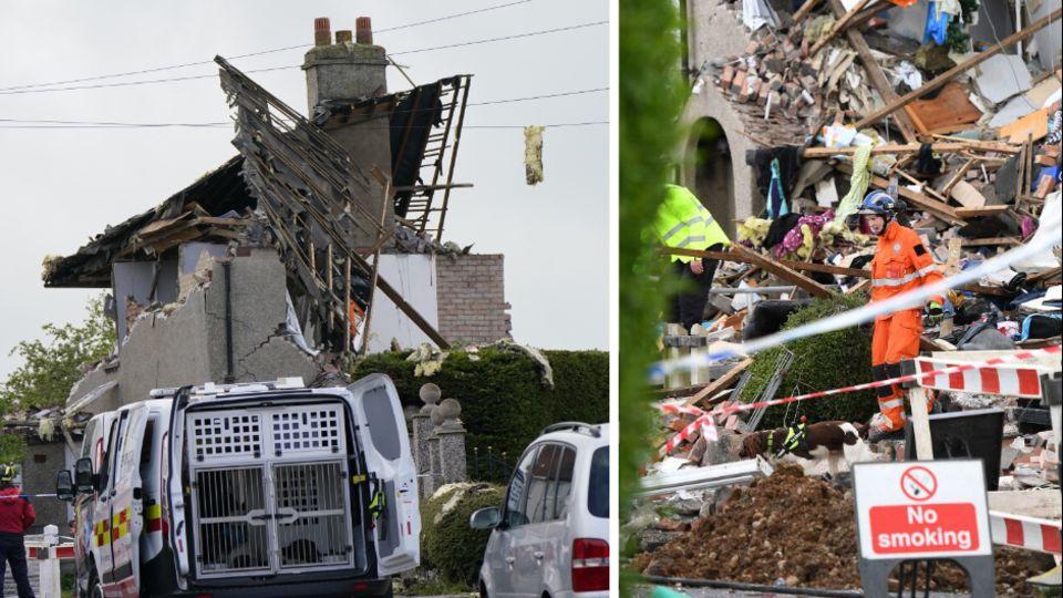 Die Bildkombo zeigt ein völlig zerstörtes Wohnhaus und Rettungskräfte in den Trümmern