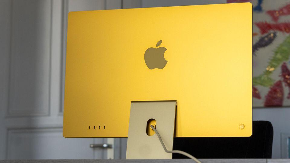 Die Rückseite des iMac ist in knalligen Farbtönen gestaltet