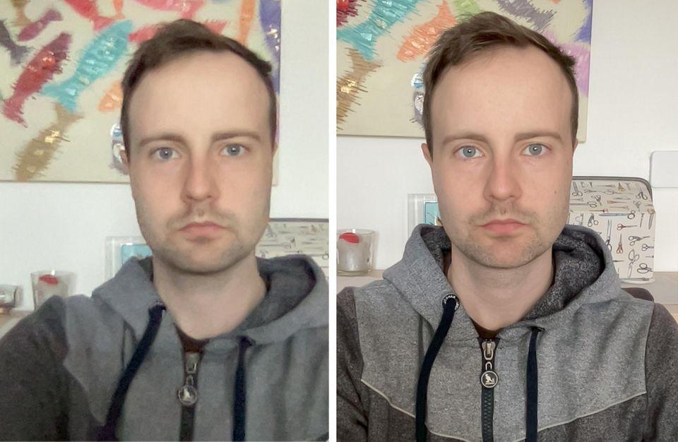 Links das Macbook Air, rechts der neue iMac. Man erkennt deutlich, wie viel schärfer die neue Frontkamera ist.