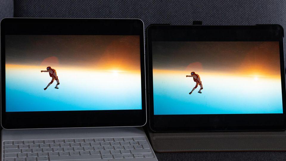 Links das neue iPad Pro, rechts das Modell von 2020. Das neue Modell hat - das passende Filmmaterial vorausgesetzt - eine deutlich bessere Zeichnung und zeigt mehr Details.