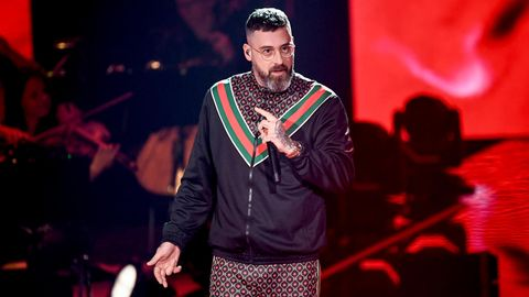 Der Rapper Sido als Juror auf der Bühne der Castingshow The Voice of Germany