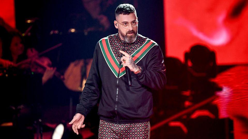 Der Rapper Sido als Juror auf der Bühne der Castingshow The Voice of Germany