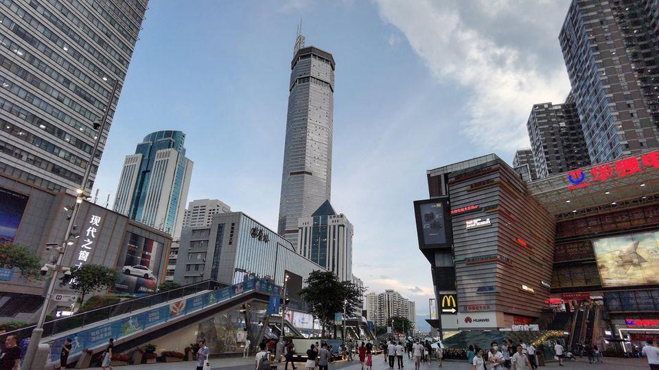 Wolkenkratzer schwankt: Das 300 Meter hohe SEG Plaza in Shenzhen in Chinas südlicher Provinz Guangdong