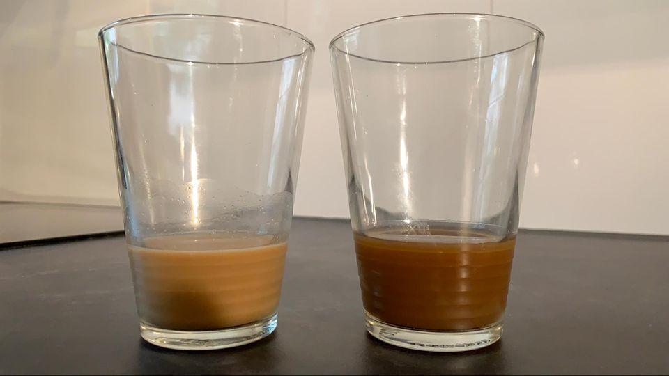 Mary's Dream Coffee: Die beiden Sorten in unterschiedlichen Gläsern.