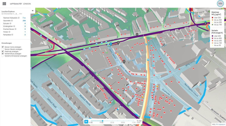 Die Grafik zeigt Luftqualität und Verkehrsbelastung in London.