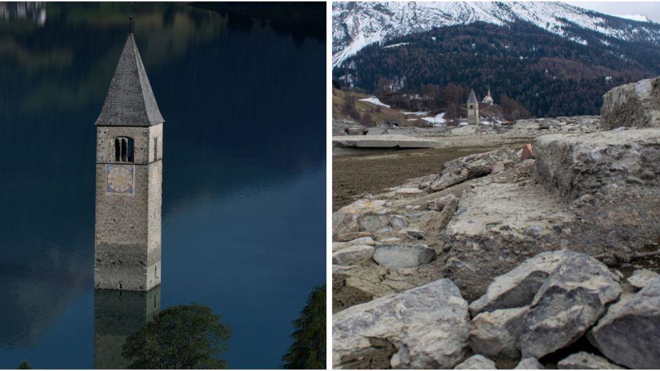 Das Wasserablassen aus dem Reschensee in Graun im Vinschgau brachte das geflutete Dorf wieder zum Vorschein.