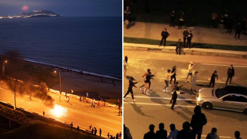 Lage in Ceuta angespannt: Hunderte Migranten geraten mit Polizei aneinander