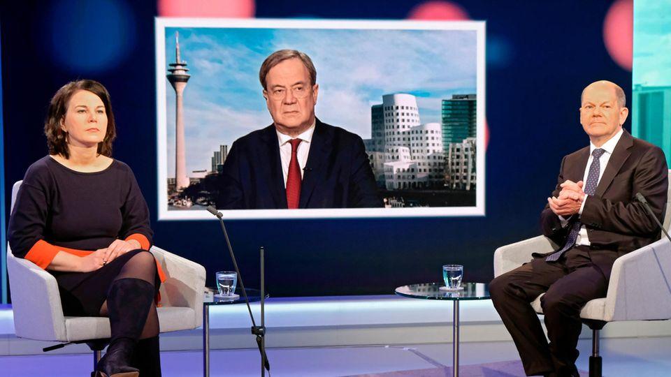 Kanzlerkandidaten Baerbock, Laschet, Scholz auf dem WDR-Europaforum