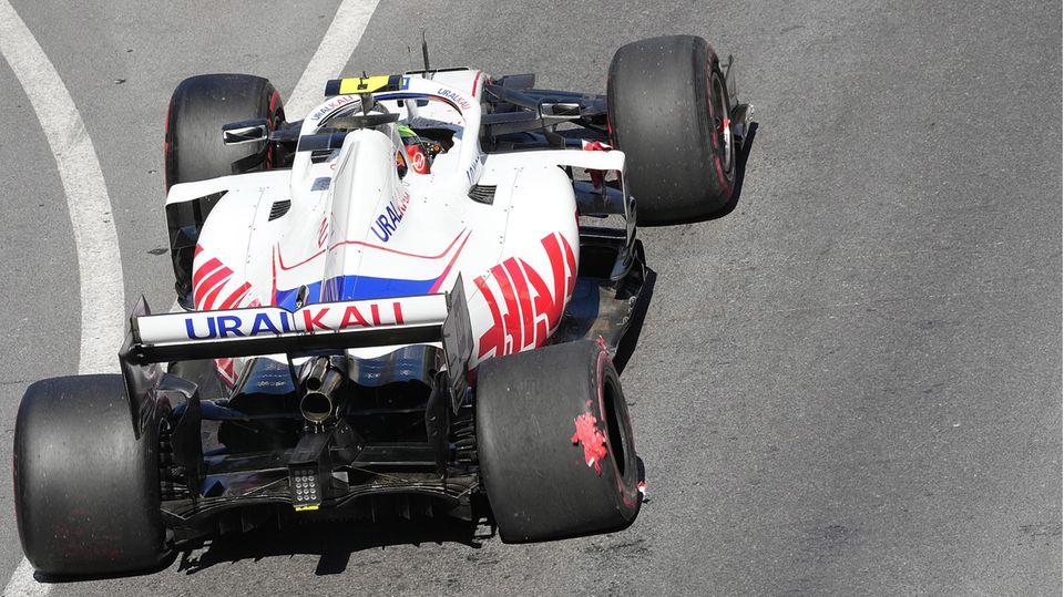 Mick Schumacher hat sich in Monaco das Hinterrad demoliert