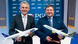 Ende Januar 2020: Condor-CEO Ralf Teckentrup (links) und LOT-CEO Rafal Milczarski geben die Übernahme der Condor durch die Polish Aviation Group S.A. (PGL),Muttergesellschaft der LOT,bekannt. Doch dann kam die Corona-Krise und der Deal platzte.