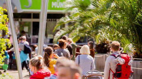 Schlangen vor dem Allwetterzoo in Münster im vergangenen Sommer. Der Zoo hofft,nach den Sommerferien auch Schul- und Kindergartengruppen wieder empfangen zu dürfen.