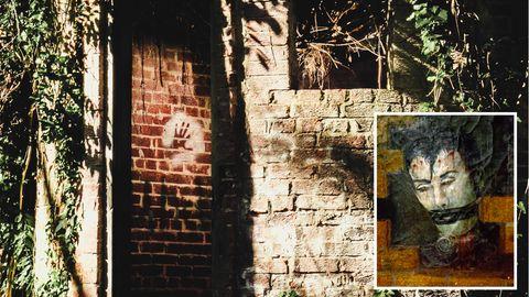Mauer der Corpsewood-Ruine, Selbstbildnis von Charles Scudder