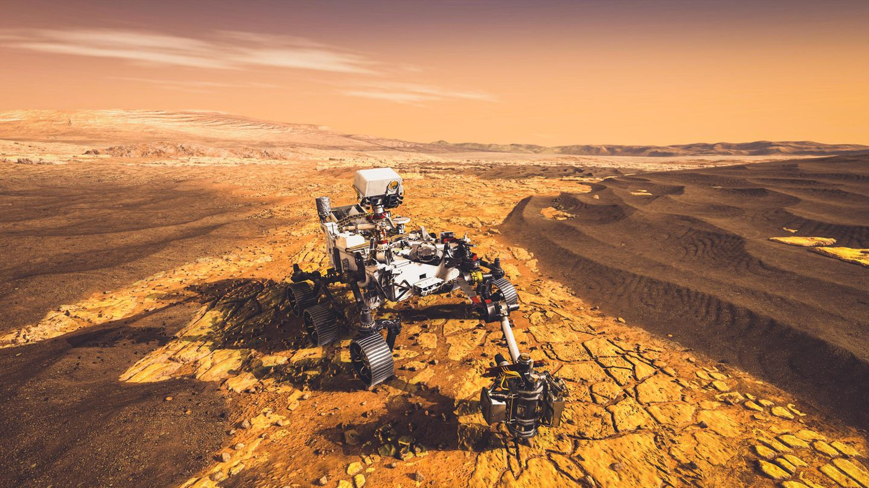 Ein unbemanntes Roverfahrzeug der NASA fährt zu Forschungszwecken auf der Marsoberfläche (3D-Darstellung)