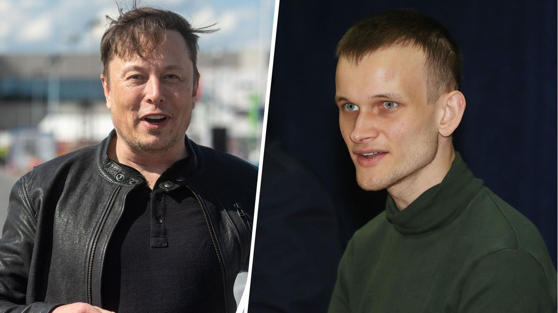 Tesla-Chef Elon Musk (links) beeinflusst mit Tweets den Kryptomarkt. Kein Grund zur Sorge, findet Vitalik Buterin (rechts)