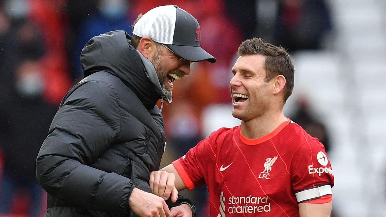 Haben nach einer verkorksten Saison mit einem versöhnlichen Ausgang gut lachen: Jürgen Klopp und Profi James Milner
