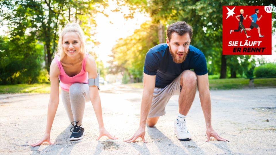 Eine Läuferin und ein Läufer warten auf den Start