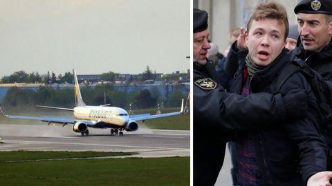 Ryanair-Flugzeug in Vilnius; Roman Protassewitsch bei einer Festnahme in Minsk 2017