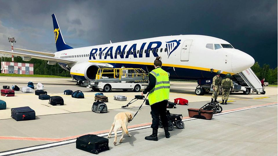Minsk, Belarus: Ein Hundeführer kontrolliert nach der erzwungenen Landung das Gepäck der Ryanair Boeing 737-8AS