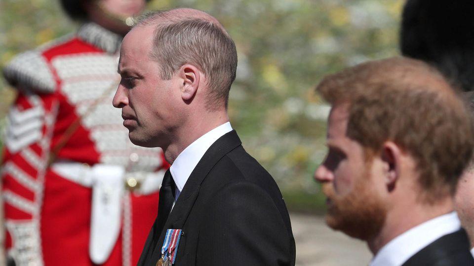 William und Harry bei der Beerdigung von Prinz Philip