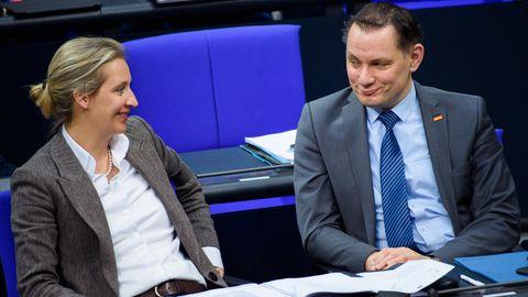 Alice Weidel, Vorsitzende der AfD-Bundestagsfraktion, und Tino Chrupalla,AfD-Bundesvorsitzender