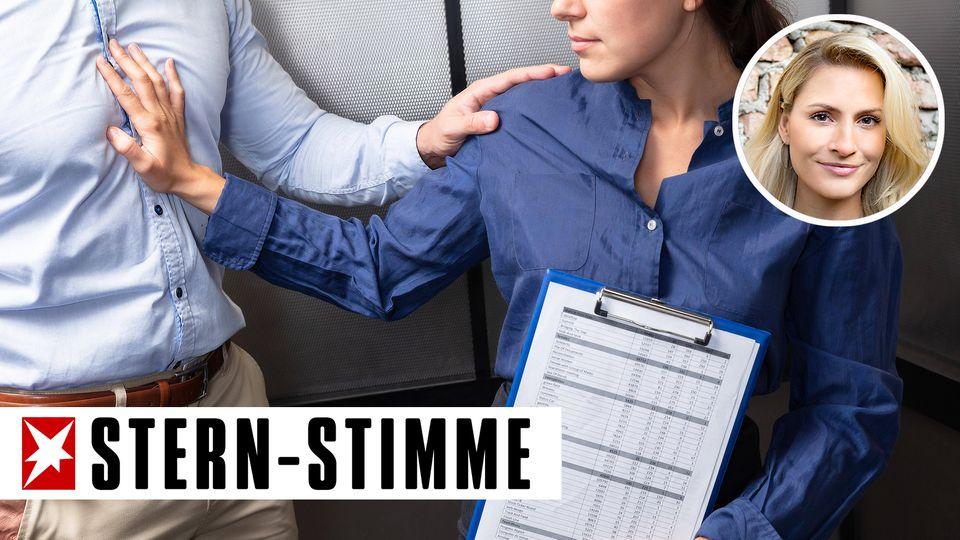Eine Frau wehrt sich gegen Belästigung im Fahrstuhl
