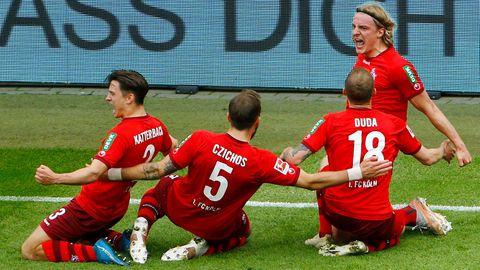 Spieler des 1. FC Köln beim Torjubel