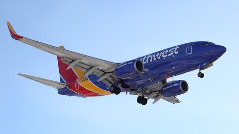 Flugzeug von Southwest-Airlines. Hier wurde eine Flugbegleiterin attackiert.