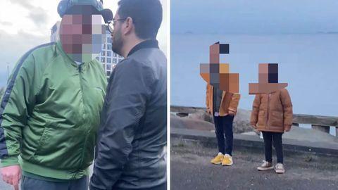 Der Angreifer attackiert Kodes Hamdis Mann verbal (l.). Ihre Kinder (r.) bekommen alles mit
