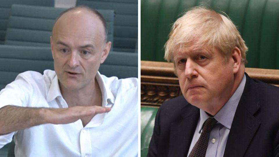 """""""Wir haben Leute mit Corona zurück in die Pflegeheime geschickt"""", sagt Dominic Cummings (l.) über sich und seinen Ex-Chef Premier Boris Johnson (r.)"""