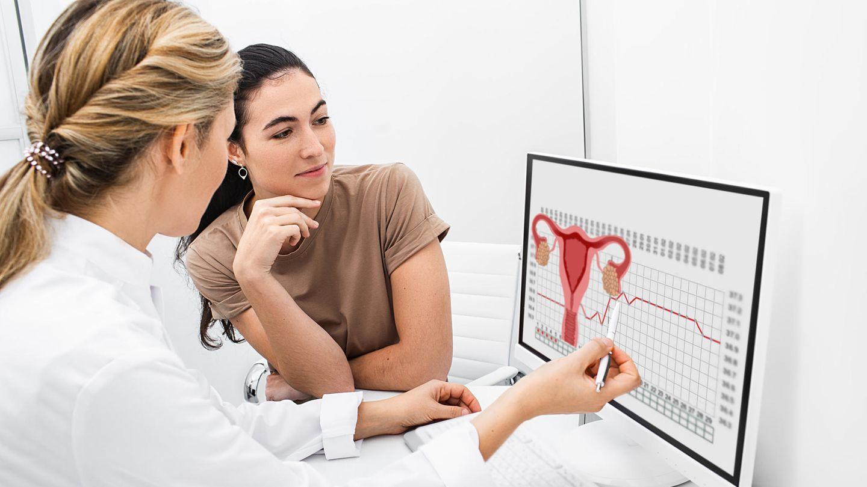 Frauenärztin erklärt Patientin den weiblichen Zyklus