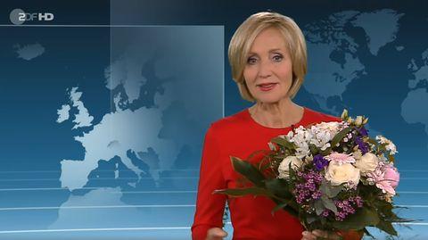 """Petra Gerster bei ihrer letzten """"heute""""-Sendung im ZDf"""