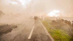 Rauch- und Aschewolken bei Goma