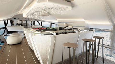 Die Tragelast eiens Luftschiffes ist limitiert, aber anders als beim Fllugzeug können sehr großzügige Kabinen gebaut werden.
