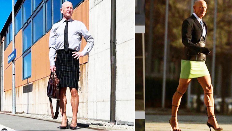 61-jähriger Mark Bryan trägt Rock und High Heels