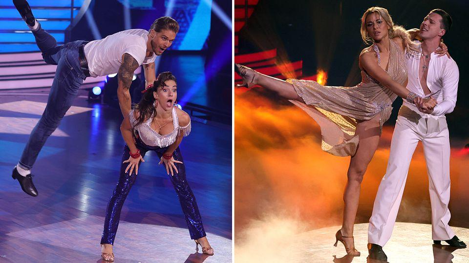 """Rúrik Gíslason und Renata Lusin (l.) sowie Valentina Pahde und Valentin Lusin im """"Let's Dance""""-Finale"""