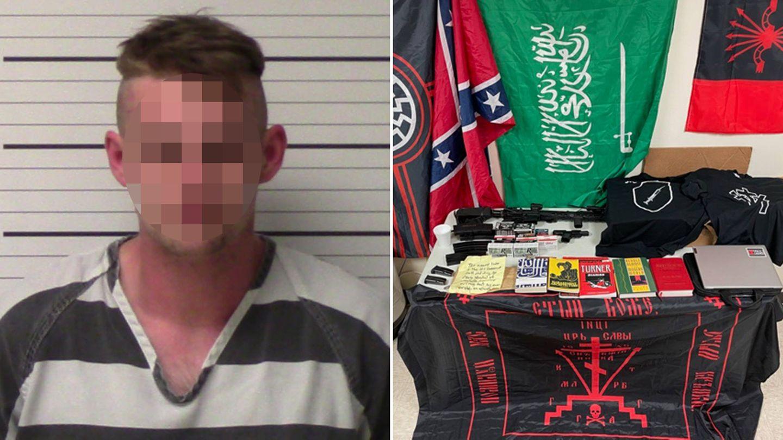 Links: ColemanB. nach seiner Festnahme, rechts: die in seiner Wohnung sichergestellten Gegenstände