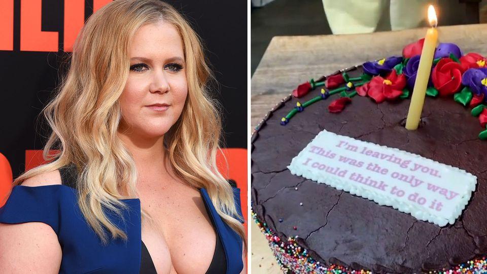 Fieser Scherz zum Geburtstag: Amy Schumer kann nicht glauben, was auf ihrer Torte steht