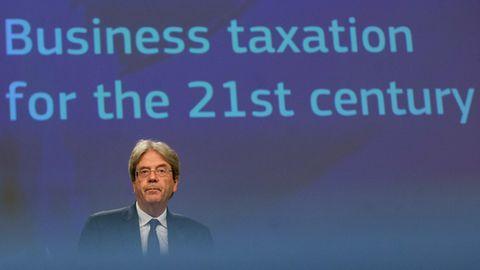 EU-Wirtschaftskommissar Gentiloni während einer Pk zur Unternehmenssteuerung in der EU