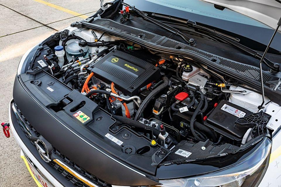 Der Opel Corsa e-Rallye hat wie das Serienmodell 100 kW / 136 PS