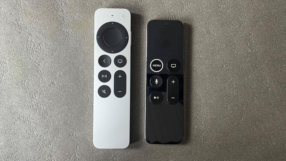 Links die neue Fernbedienung, rechts das touch-basierte Modell des Vorgängers.