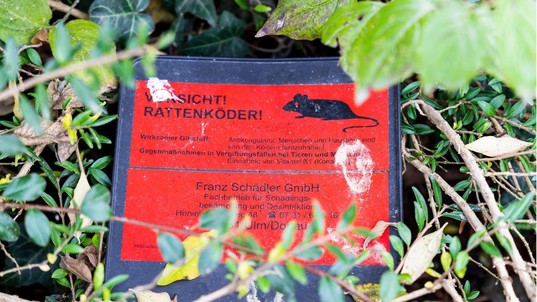 """Ein Schild mit der Aufschrift """"Vorsicht! Rattenköder!"""". Die Lage im Kölner Brennpunkt ist mittlerweile eskaliert (Symbolbild)"""