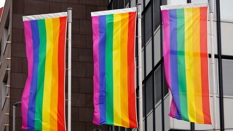 Regenbogenflaggen vor einem Unternehmensgebäude